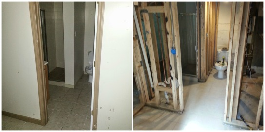 Basement bathroom, before and after demo