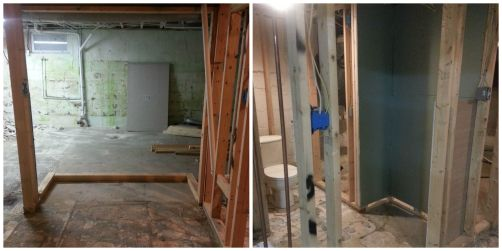 Framing in progress. Don't mind the ugly basement.