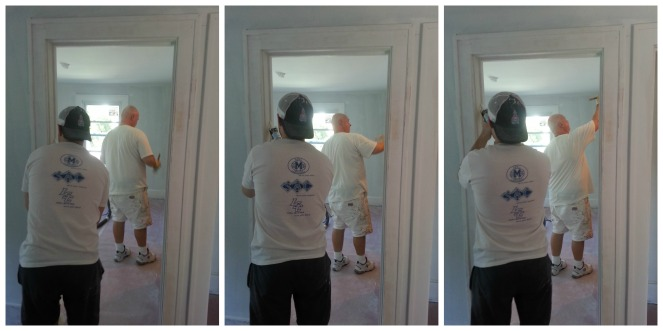 Smoothing out and painting the upstairs woodwork